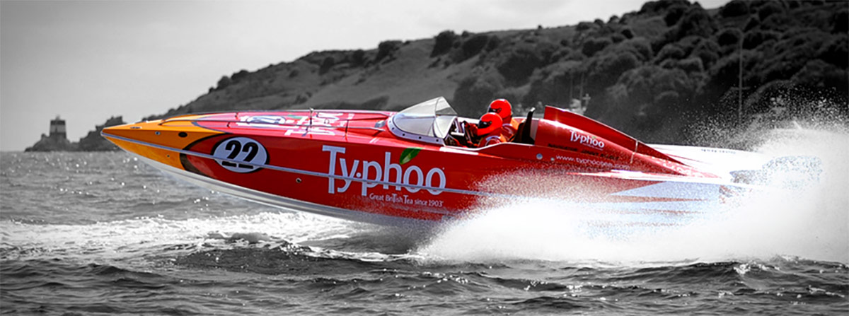 Printed vinyl Power Boat wrap for Typhoo by Totally Dynamic