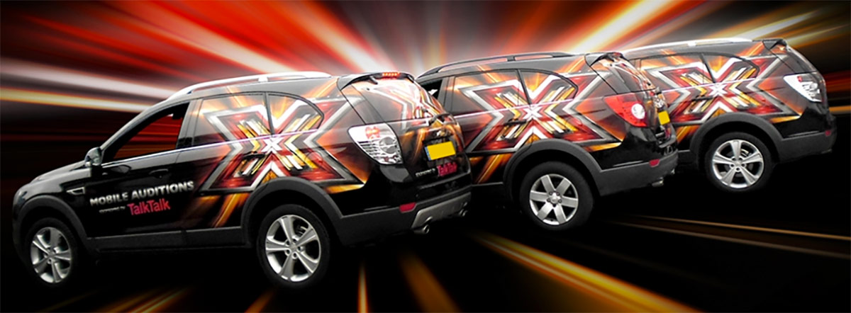 Chrysler fleet vehicle wrapped for the X-Factor by Totally Dynamic