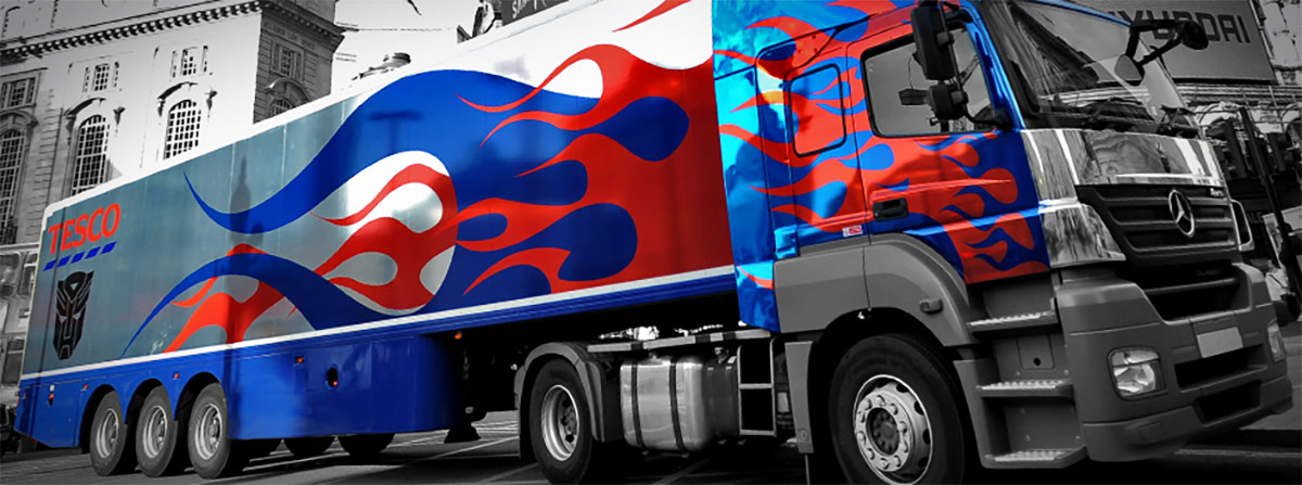 Lorry wrapped in printed chrome vinyl for Tesco by Totally Dynamic