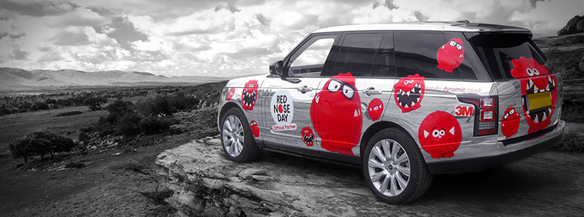 Range Rover wrap for Red Nose day