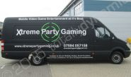 Mercedes Sprinter fully wrapped for Xtreme Party Gaming in a vinyl van wrap design by Totally Dynamic South London