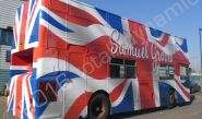 Open Top Bus fully vinyl wrapped in printed bus wrap design for U Group