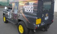 Land Rover Defender vinyl wrapped for Fosters Rocks