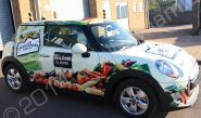 MINI Cooper fully vinyl wrapped in a promotional vehicle wrap for New Covent Garden Soup Company by Totally Dynamic Norfolk