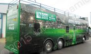Rugby World Cup 2015 open top bus fully vinyl wrapped for Heineken in a printed bus wrap design by Totally Dynamic North London