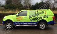 Nissan Navara fully vinyl wrapped for Mountain Munchkins in a printed vehicle wrap by Totally Dynamic Manchester