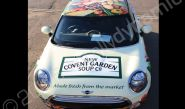 MINI fully vinyl wrapped for New Covent Garden Soups in a printed vehicle wrap design by Totally Dynamic Norfolk