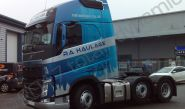 Volvo FH lorry cab fully vinyl wrapped for R A Haulage