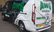 Ford Transit van vinyl wrapped for AWG Windscreens