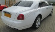 Rolls Royce Ghost fully wrapped in a gloss white vinyl car wrap