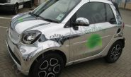 Smart car in a chrome vinyl car wrap for The Pro Golf Shop Jersey
