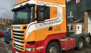 Scania lorry cab vinyl wrapped for G W Harrold