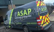Mercedes Sprinter van vinyl wrapped for ASAP by Totally Dynamic Norfolk