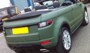 Range Rover Evoque convertible vinyl wrapped in a matt khaki car wrap