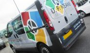 Renault Trafic fully vinyl wrapped in a printed design for D F Keane by Totally Dynamic North London
