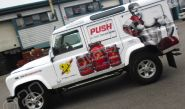 Land Rover Defender fully wrapped in a printed vinyl car wrap for Push Supplements by Totally Dynamic North London