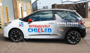 Citroen DS3 fully wrapped in a printed car wrap design for Intensively Chilled Driving Tuition by Totally Dynamic Norfolk
