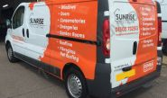 Vauxhall Vivaro van vinyl wrapped for Sunrise Installations