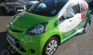 Toyota Aygo fully vinyl wrapped for Home Care Preferred in a printed vehicle wrap design by Totally Dynamic North London