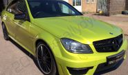 Mercedes C63 AMG vinyl wrapped in electric lime green