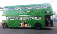 London Routemaster bus fully wrapped in a printed vinyl bus wrap to promote the Shaun the Sheep Movie by Totally Dynamic North London