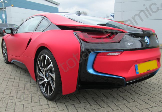 Totally Dynamic Bmw I8 Fully Vinyl Wrapped In Matt Laminated Red
