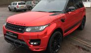 Range Rover Sport Autobiography with a red chrome vinyl car wrap