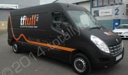 Renault Master van fully wrapped in a matt black vinyl van wrap with cut vinyl graphics by Totally Dynamic North London