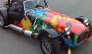 Caterham 7 fully vinyl wrapped in a printed car wrap design
