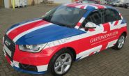 Audi A1's fully vinyl wrapped in a union flag design for Garton Jones